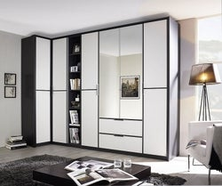 Rauch Essensa 6 Door Combi L Shaped Wardrobe in Metallic Grey and White - W 314cm