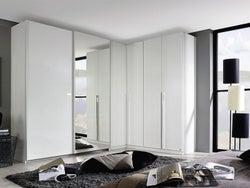 Rauch Essensa 6 Door L Shaped Wardrobe in White - W 417cm