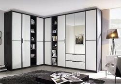 Rauch Essensa 8 Door Combi L Shaped Wardrobe in Metallic Grey and White - W 438cm