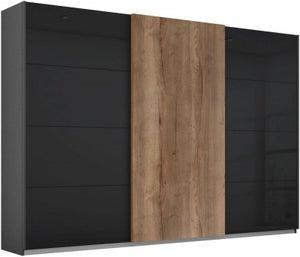 Rauch Halifax 3 Door Sliding Wardrobe in Metallic Grey and Glass Basalt with Oak - W 271cm