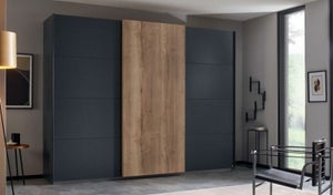 Rauch Halifax 3 Door Sliding Wardrobe in Metallic Grey and Oak - W 271cm