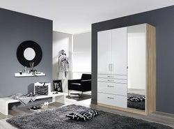 Rauch Homburg 3 Door Combi Wardrobe in Oak and White Gloss - W 136cm