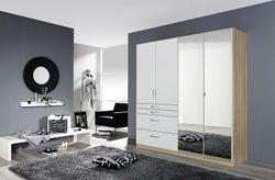 Rauch Homburg 4 Door Combi Wardrobe in Oak and White Gloss - W 181cm