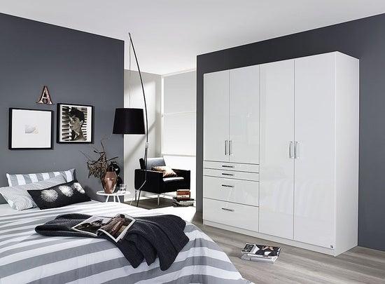 Rauch Homburg 4 Door Wardrobe in White - W 181cm