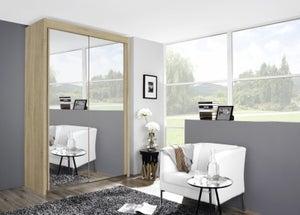 Rauch Imperial 2 Door All Mirror Sliding Wardrobe in Sonoma Oak - W 151cm