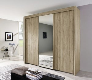 Rauch Imperial 3 Door Mirror Sliding Wardrobe in Sanremo Oak Light - W 225cm