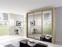 Rauch Imperial 3 Door All Mirror Sliding Wardrobe in Sanremo Oak Light - W 225cm