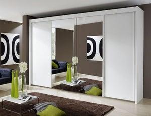 Rauch Imperial 4 Door Mirror Sliding Wardrobe in White - W 350cm