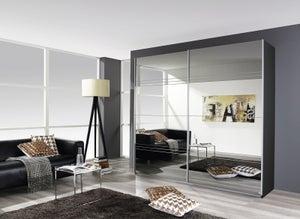 Rauch Koblenz 2 Door All Mirror Sliding Wardrobe in Metallic Grey - W 181cm