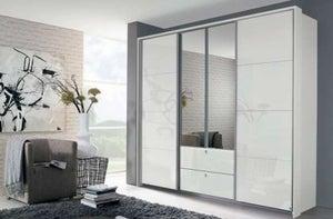 Rauch Kombino 4 Door Combi Wardrobe in High Gloss White - W 226cm