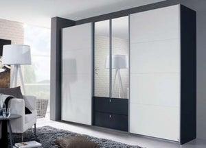 Rauch Kombino 4 Door Combi Wardrobe in Oak and High Gloss White - W 271cm
