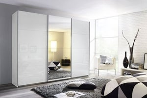 Rauch Kulmbach 3 Door Sliding Wardrobe in Alpine White and High Polish White with Aluminium Handle Strips - W 203cm