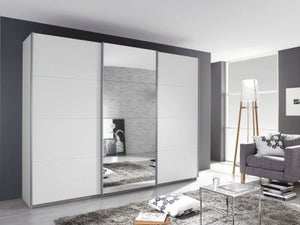 Rauch Kulmbach 3 Door Sliding Wardrobe in Alpine White with Aluminium Handle Strips - W 203cm
