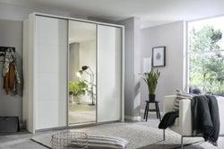 Rauch Kulmbach 3 Door Sliding Wardrobe in Alpine White with Carcase Handle Strips - W 203cm