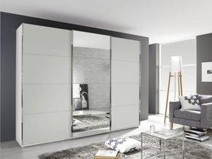 Rauch Kulmbach 3 Door Sliding Wardrobe in Alpine White with Chrome Handle Strips - W 203cm