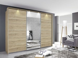 Rauch Kulmbach 3 Door Sliding Wardrobe in Sanremo Oak Light with Aluminium Handle Strips - W 203cm