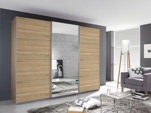 Rauch Kulmbach 3 Door Sliding Wardrobe in Sonoma Oak with Aluminium Handle Strips - W 203cm