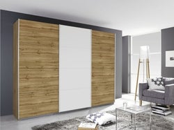 Rauch Kulmbach 3 Door Sliding Wardrobe in Wotan Oak and Glass White with Aluminium Handle Strips - W 203cm