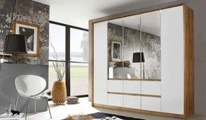 Rauch Mainz 5 Door 3 Mirror 6 Drawer Combi Wardrobe in Wotan Oak and Alpine White - W 226cm