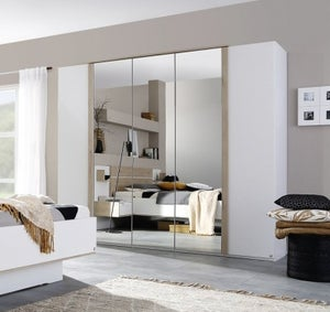 Rauch Marcella 5 Door Wardrobe in Alpine White and Faux Leather White - W 251cm