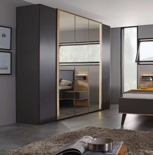 Rauch Marcella 5 Door Wardrobe in Graphite and Faux Leather Basalt - W 251cm