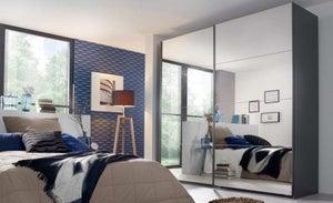 Rauch Miramar 2 Door All Mirror Sliding Wardrobe in Graphite - W 226cm