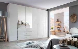 Rauch Montclar 6 Door 2 Mirror 3 Drawer Combi Wardrobe in Alpine White and High Polish White - W 301cm