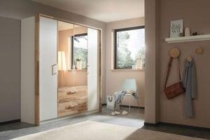 Rauch Pai 4 Door 2 Drawer Combi Wardrobe in Alpine White and Montana Oak - W 181cm