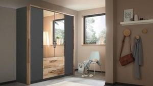 Rauch Pai 4 Door 2 Drawer Combi Wardrobe in Metallic Grey and Montana Oak - W 181cm