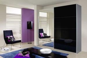 Rauch Quadra 2 Door Mirror Sliding Wardrobe in Silk Grey and Black Glass - W 226cm