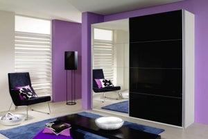 Rauch Quadra 2 Door Mirror Sliding Wardrobe in White and Black Glass - W 226cm