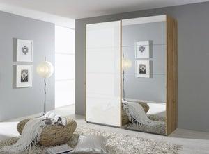 Rauch Quadra 2 Door Mirror Sliding Wardrobe in Wotan Oak and White Glass - W 181cm