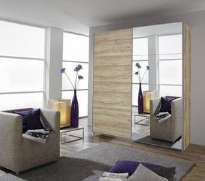 Rauch Quadra 2 Door Mirror Sliding Wardrobe in Sonoma Oak- W 181cm