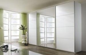 Rauch Quadra 3 Door Mirror Sliding Wardrobe in White - W 315cm