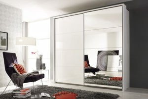 Rauch Quadra Sliding Wardrobe with High Gloss and Mirror Front