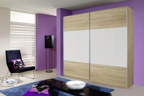 Rauch Quadra 2 Door Sliding Wardrobe in Oak and White - W 226cm