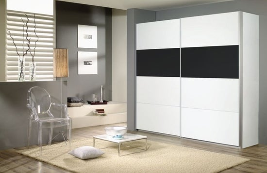Rauch Quadra 2 Door Sliding Wardrobe in White and Black Glass - W 226cm