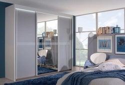 Rauch Ravello 3 Door Sliding Wardrobe in White and Silk Grey - W 225cm