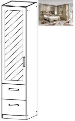 Rauch Rivera 1 Left Mirror Door 2 Drawer Combi Wardrobe with Cornice in Sonoma Oak