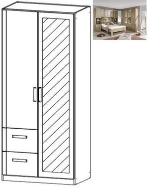 Rauch Rivera 2 Door 1 Left Mirror 2 Drawer Combi Wardrobe with Cornice in Sonoma Oak
