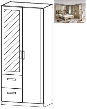 Rauch Rivera 2 Door 1 Mirror 2 Left Drawer Combi Wardrobe with Cornice in Sonoma Oak