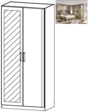 Rauch Rivera 2 Door 1 Mirror Wardrobe with Cornice in Sonoma Oak