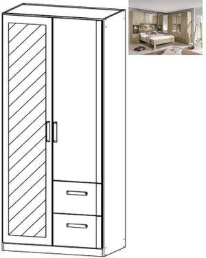 Rauch Rivera 2 Door 1 Right Mirror 2 Drawer Combi Wardrobe with Cornice in Sonoma Oak