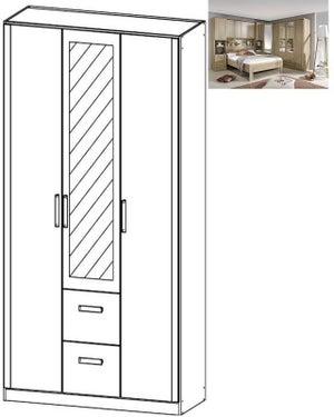 Rauch Rivera 3 Door 1 Mirror 2 Drawer Combi Wardrobe with Cornice in Sonoma Oak