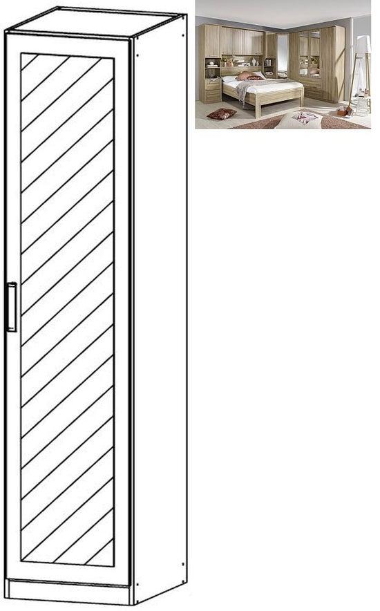 Rauch Rivera 1 Mirror Door Wardrobe with Cornice in Sonoma Oak