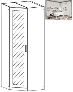 Rauch Rivera 1 Mirror Door Corner Wardrobe with Cornice in Alpine White