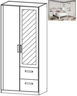 Rauch Rivera 2 Door 1 Mirror 2 Right Drawer Combi Wardrobe with Cornice in Alpine White