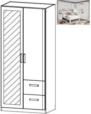Rauch Rivera 2 Door 1 Right Mirror 2 Drawer Combi Wardrobe with Cornice in Alpine White