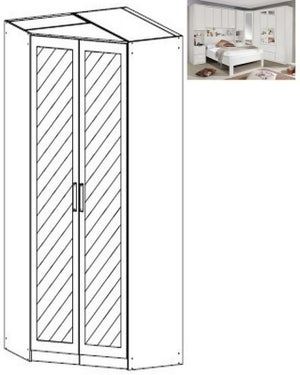 Rauch Rivera 2 Mirror Door Corner Wardrobe with Cornice in Alpine White