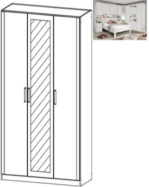 Rauch Rivera 3 Door 1 Mirror Wardrobe with Cornice in Alpine White